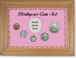 1953 Birth Year Coin Gift Set with a pink background and wheat frame THUMBNAIL
