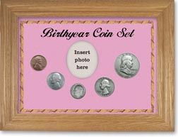 1954 Birth Year Coin Gift Set with a pink background and wheat frame THUMBNAIL