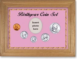 1957 Birth Year Coin Gift Set with a pink background and wheat frame THUMBNAIL