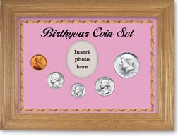 1966 Birth Year Coin Gift Set with a pink background and wheat frame THUMBNAIL