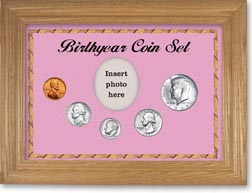 1967 Birth Year Coin Gift Set with a pink background and wheat frame THUMBNAIL