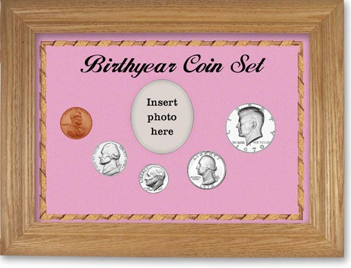 1970 Birth Year Coin Gift Set with a pink background and wheat frame LARGE