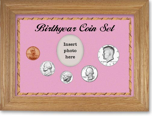 1972 Birth Year Coin Gift Set with a pink background and wheat frame LARGE