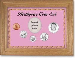 1974 Birth Year Coin Gift Set with a pink background and wheat frame THUMBNAIL