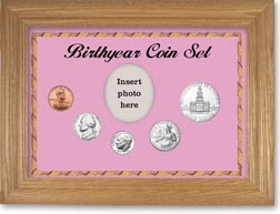 1975 Birth Year Coin Gift Set with a pink background and wheat frame THUMBNAIL