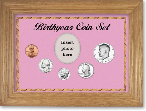 1977 Birth Year Coin Gift Set with a pink background and wheat frame LARGE