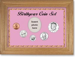 1977 Birth Year Coin Gift Set with a pink background and wheat frame THUMBNAIL