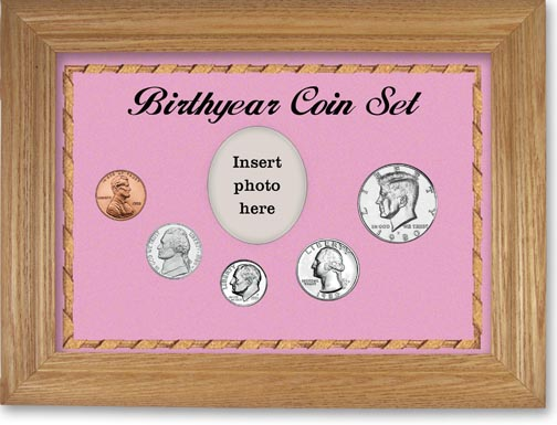 1980 Birth Year Coin Gift Set with a pink background and wheat frame LARGE