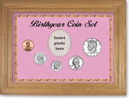 1982 Birth Year Coin Gift Set with a pink background and wheat frame THUMBNAIL