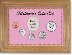 Birth Year Coin Gift Set with a pink background and wheat frame THUMBNAIL