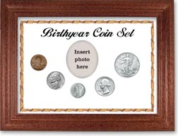 1944 Birth Year Coin Gift Set with a white background and cherry frame THUMBNAIL