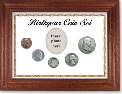 1950 Birth Year Coin Gift Set with a white background and cherry frame THUMBNAIL