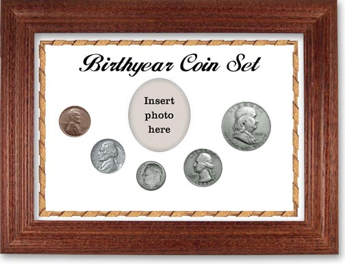 1953 Birth Year Coin Gift Set with a white background and cherry frame LARGE