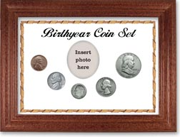 1953 Birth Year Coin Gift Set with a white background and cherry frame THUMBNAIL