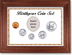 1955 Birth Year Coin Gift Set with a white background and cherry frame THUMBNAIL