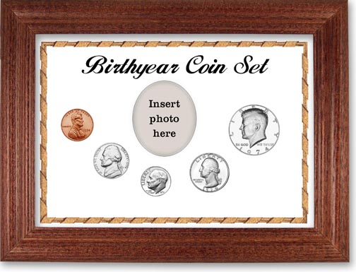1974 Birth Year Coin Gift Set with a white background and cherry frame LARGE