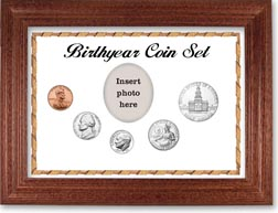 1975 Birth Year Coin Gift Set with a white background and cherry frame THUMBNAIL