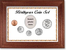 Birth Year Coin Gift Set with a white background and cherry frame THUMBNAIL