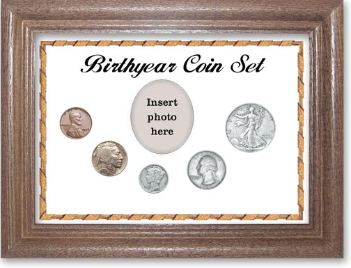 1936 Birth Year Coin Gift Set with a white background and dark oak frame LARGE