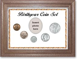 1937 Birth Year Coin Gift Set with a white background and dark oak frame THUMBNAIL