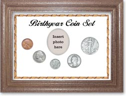 1939 Birth Year Coin Gift Set with a white background and dark oak frame THUMBNAIL