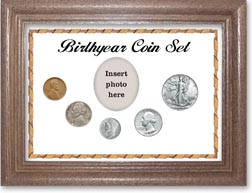 1940 Birth Year Coin Gift Set with a white background and dark oak frame THUMBNAIL