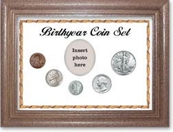 1941 Birth Year Coin Gift Set with a white background and dark oak frame THUMBNAIL