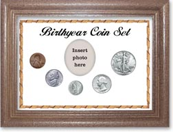 1942 Birth Year Coin Gift Set with a white background and dark oak frame THUMBNAIL