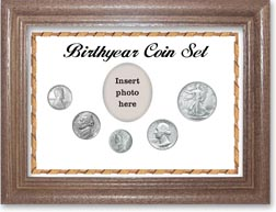 1943 Birth Year Coin Gift Set with a white background and dark oak frame THUMBNAIL