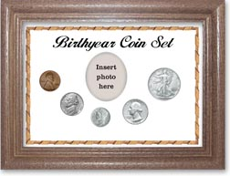 1944 Birth Year Coin Gift Set with a white background and dark oak frame THUMBNAIL
