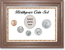 1947 Birth Year Coin Gift Set with a white background and dark oak frame THUMBNAIL