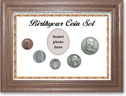1950 Birth Year Coin Gift Set with a white background and dark oak frame THUMBNAIL