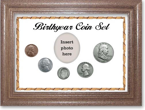 1954 Birth Year Coin Gift Set with a white background and dark oak frame LARGE