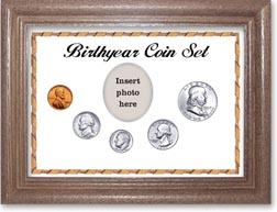1957 Birth Year Coin Gift Set with a white background and dark oak frame THUMBNAIL