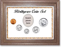 1965 Birth Year Coin Gift Set with a white background and dark oak frame THUMBNAIL