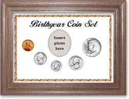 1967 Birth Year Coin Gift Set with a white background and dark oak frame THUMBNAIL
