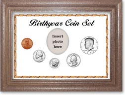 1970 Birth Year Coin Gift Set with a white background and dark oak frame THUMBNAIL