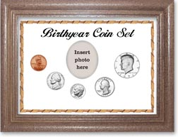 1971 Birth Year Coin Gift Set with a white background and dark oak frame THUMBNAIL