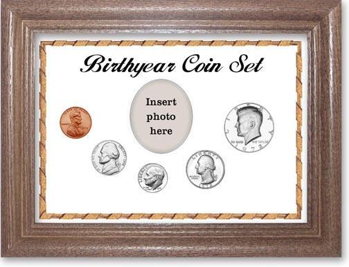 1972 Birth Year Coin Gift Set with a white background and dark oak frame LARGE