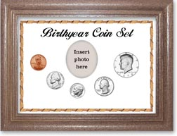1972 Birth Year Coin Gift Set with a white background and dark oak frame THUMBNAIL