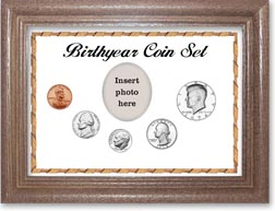 1974 Birth Year Coin Gift Set with a white background and dark oak frame THUMBNAIL
