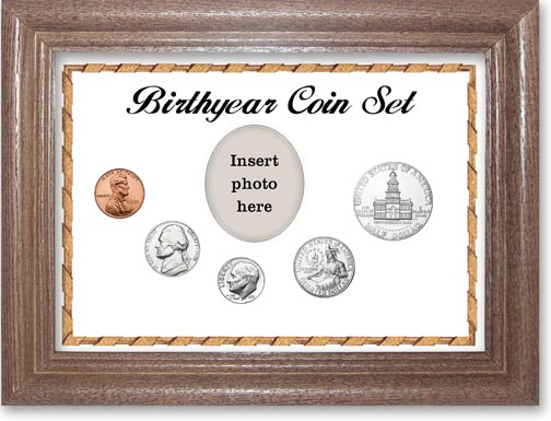 1976 Birth Year Coin Gift Set with a white background and dark oak frame LARGE