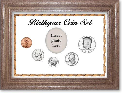 1977 Birth Year Coin Gift Set with a white background and dark oak frame LARGE
