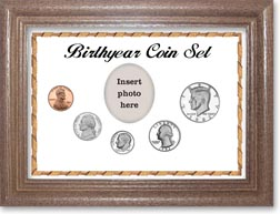1982 Birth Year Coin Gift Set with a white background and dark oak frame THUMBNAIL
