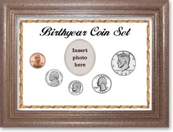 1983 Birth Year Coin Gift Set with a white background and dark oak frame THUMBNAIL