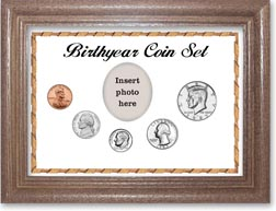 1985 Birth Year Coin Gift Set with a white background and dark oak frame THUMBNAIL