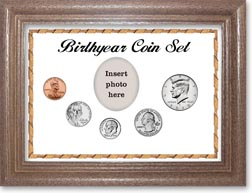 Birth Year Coin Gift Set with a white background and dark oak frame THUMBNAIL