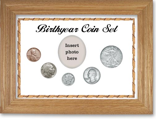 1934 Birth Year Coin Gift Set with a white background and wheat frame LARGE