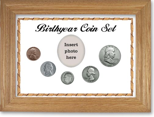 1950 Birth Year Coin Gift Set with a white background and wheat frame LARGE