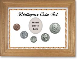1950 Birth Year Coin Gift Set with a white background and wheat frame THUMBNAIL